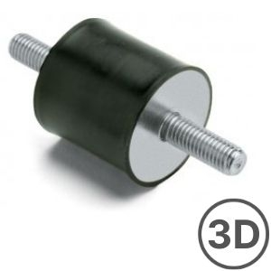 MM _ Zinc Plated Double Male Cylindrical Mounting 60SH